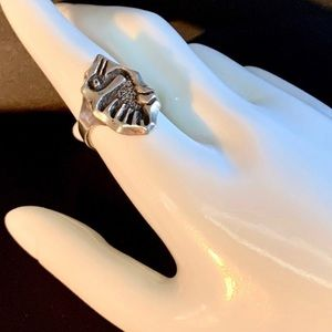 Vintage Signed 850 Silver Primitive Bird Ring Sz 9